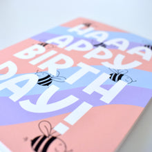 Load image into Gallery viewer, Birthday Card - Pastel Squiggle Bees