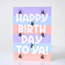 Load image into Gallery viewer, Birthday Card - Pastel Stripe Bees