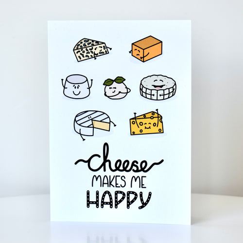 Greetings card featuring an illustration of a number of cheese and text that reads 'cheese makes me happy', by Lulibell Studio.