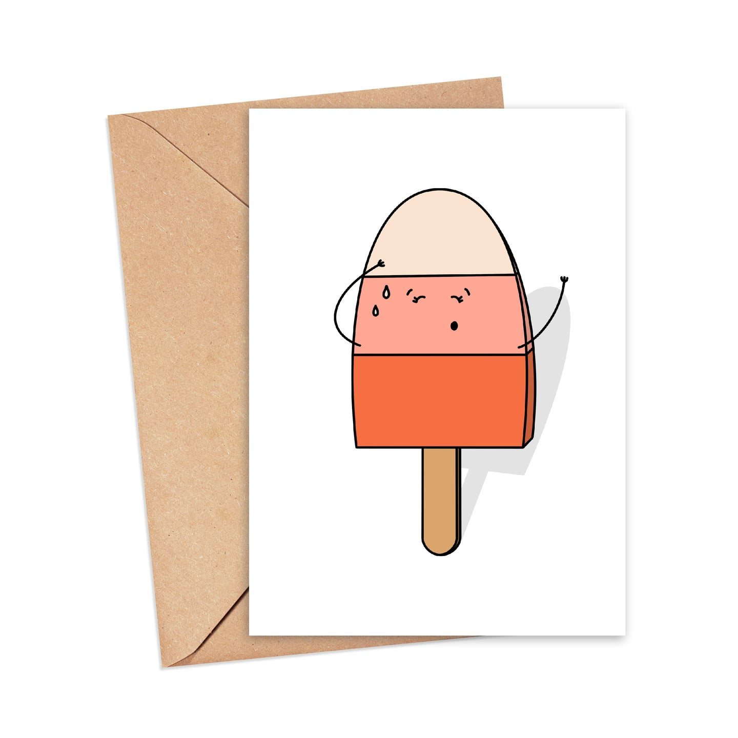 Greetings card featuring an illustration of an ice lolly sweating, mopping its forehead, by Lulibell Studio.