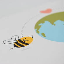Load image into Gallery viewer, Greetings card featuring an illustration of two bees on phones on either side of the planet, with dotted lines between them and a heart, by Lulibell Studio.