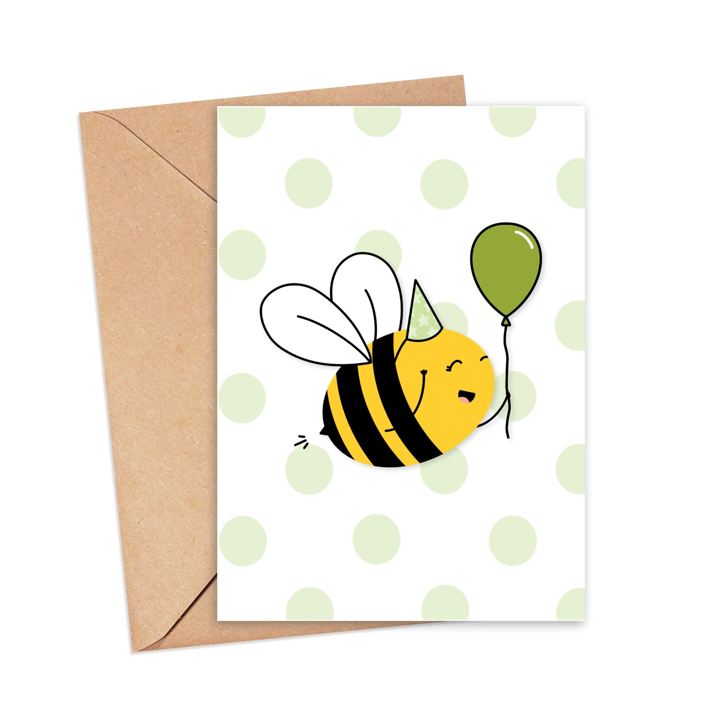 Greetings card featuring an illustration of a cute bee wearing a green star print party hat holding a green balloon, on a pastel green and white polka dot background, by Lulibell Studio.