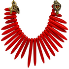 Dagger Pendant (Red & Gold Necklace) - Imitation Stone Necklace