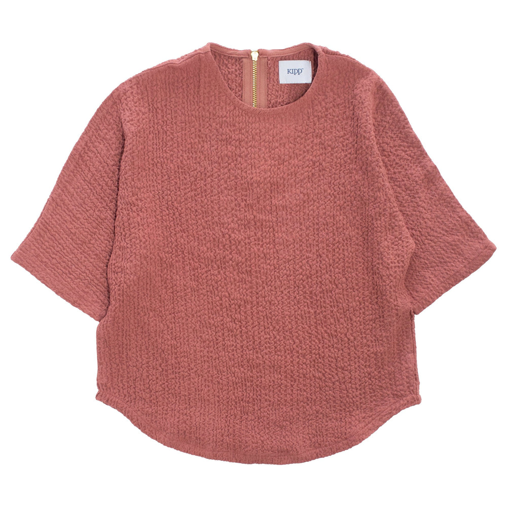 Crinkle Knit Top - Blush