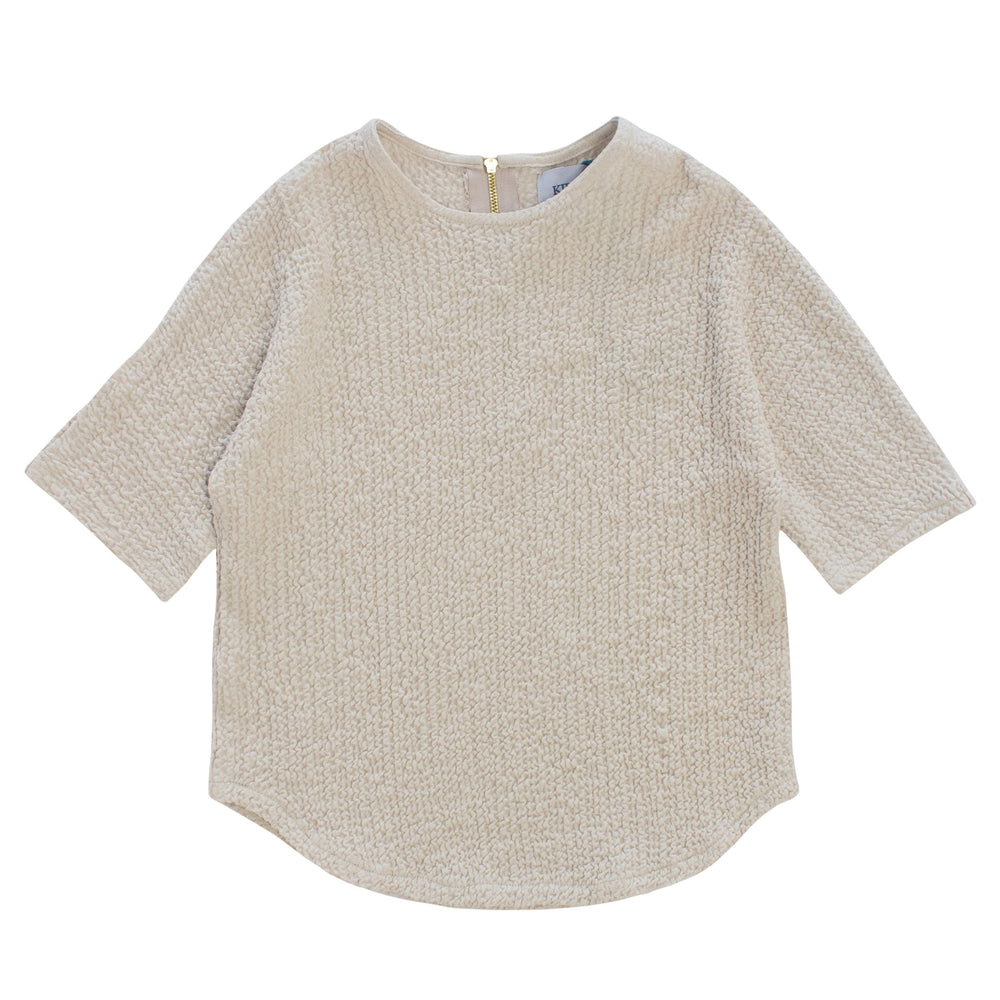 Crinkle Knit Top - Stone