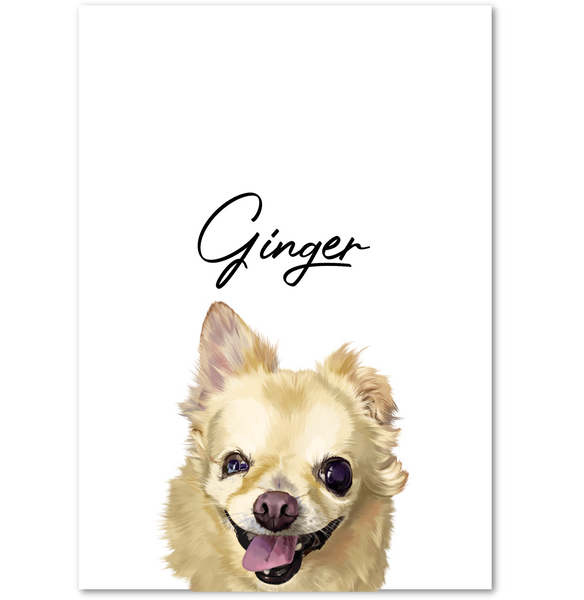 Custom Pet Portrait Digital Modern Art (Headshot Style)