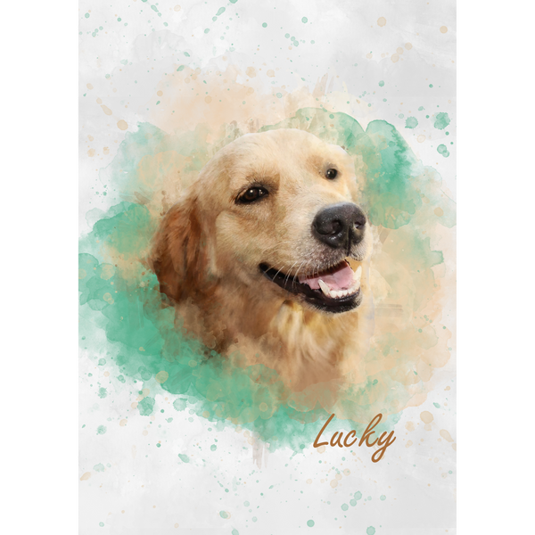 Custom Pet Portrait Digital Watercolour Art (Headshot Style)