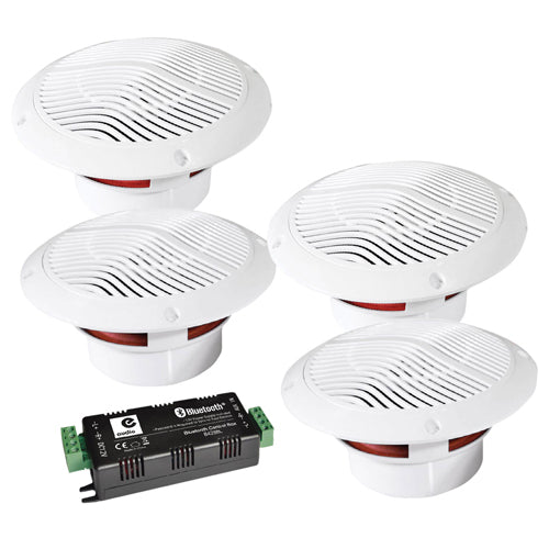 E-AUDIO B403BL - 4 Way 15w Bluetooth v5.0 Ceiling Speaker & Amplifier Kit