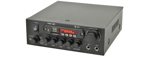 QTX KAD-2BT - Karaoke Stereo Amplifier With Bluetooth & Media Player - 2x35W RMS