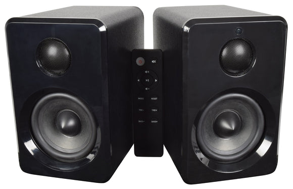 AV:LINK ABS35BLK - Active Bluetooth Bookshelf Speakers Black