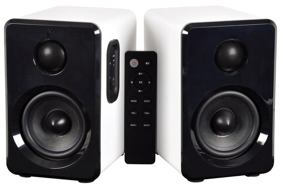 AV:LINK ABS35WHT - Active Bluetooth Bookshelf Speakers White
