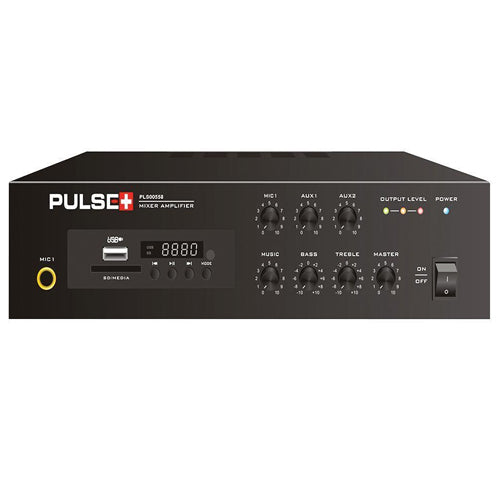 Pulse PLS00558 - 60W Compact 100V Line Desktop PA Mixer Amplifier with MP3 Player and Bluetooth