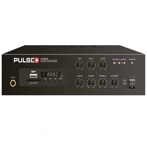 Pulse PLS00580 - 40W Compact 100V Line Desktop PA Mixer Amplifier with MP3 Player and Bluetooth