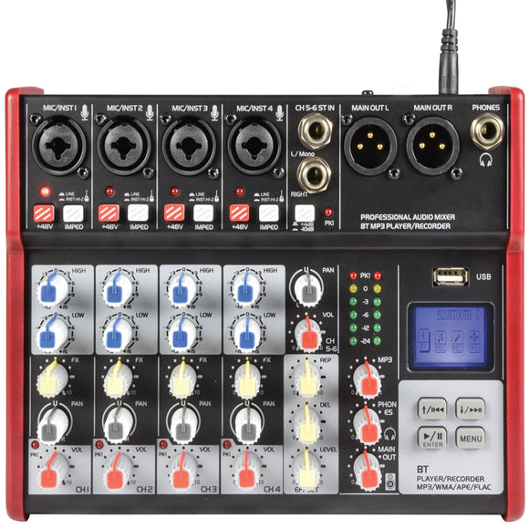 Citronic CSM-6 -  6 Channel Mixer with USB / Bluetooth Player