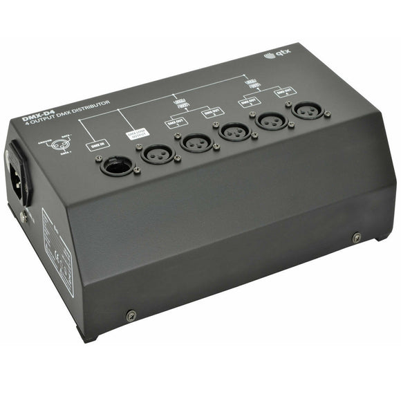 QTX DMX-D4 - 4 WAY DMX BOOSTER DISTRIBUTOR
