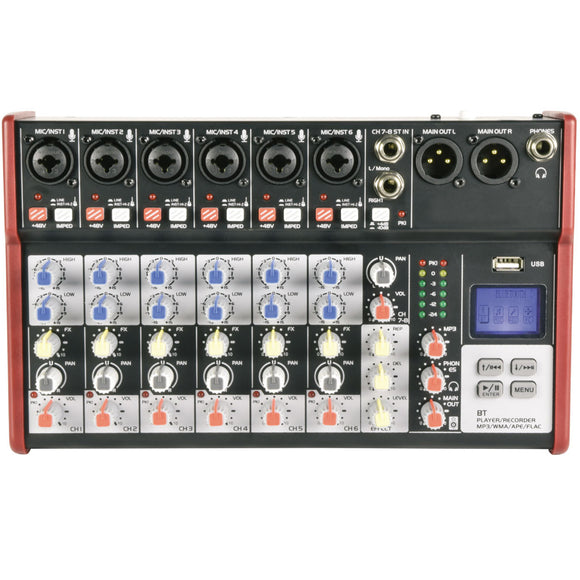 Citronic CSM-8 -  8 Channel Mixer with USB / Bluetooth Player