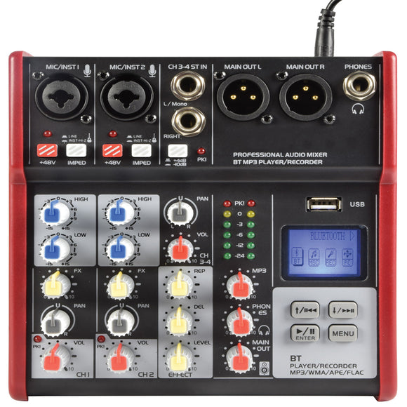 Citronic CSM-4 -  4 Channel Mixer with USB / Bluetooth Player
