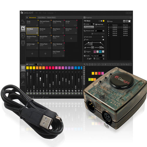 DASLIGHT DVC4 GOLD  - USB to DMX Interface and Control Software (1024 Channels)