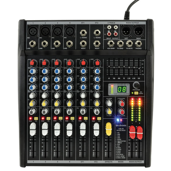 Citronic CSL-8 - 8 Channel Compact Mixing Console with DSP