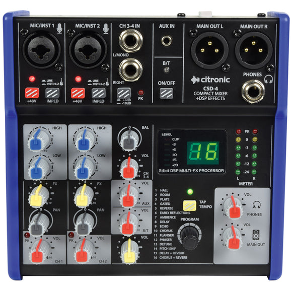 Citronic CSD-4 -  4 Channel Mixer with BT and DSP Effects