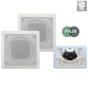 "E-AUDIO B414B - 120W 6.5"" Square Ceiling Speakers With Tweeter"