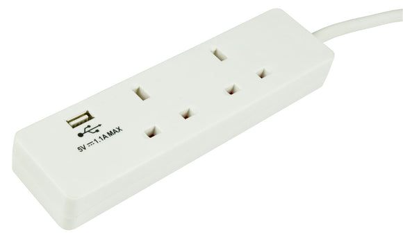 MERCURY  2G-USB-2M - 2 Gang Extension Lead with USB Port 2m