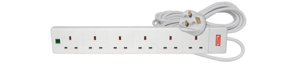 MERCURY 6 Gang Extension Lead with Surge Protection 13A 2M / White