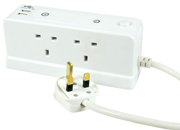 MERCURY  4G2U1M - 4 Gang Extension Lead with Compact Surge and Dual USB Ports