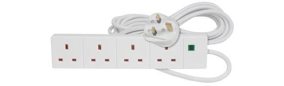 MERCURY 4 Gang Extension Lead with Surge Protection 13A 5M / White