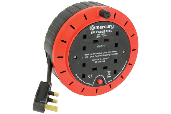 MERCURY 4-Gang Extension Reel with Thermal Cut Out 13A 5M