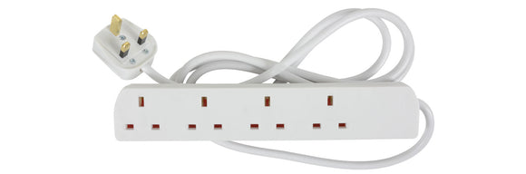 MERCURY 4 Gang Switched Extension Lead 13A 2M / White