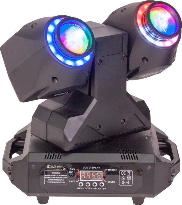 IBIZA LIGHT MHBEAM60-FX - Dual 2-in-1 30W Wash & Beam LED Moving Head with DMX Control
