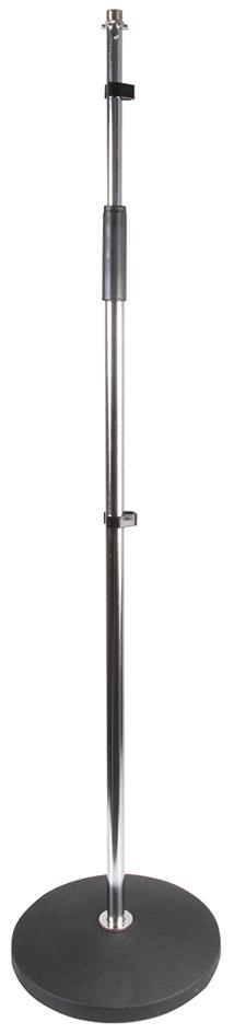 PULSE PLS00056 - Round Base Adjustable Microphone Stand, Chrome