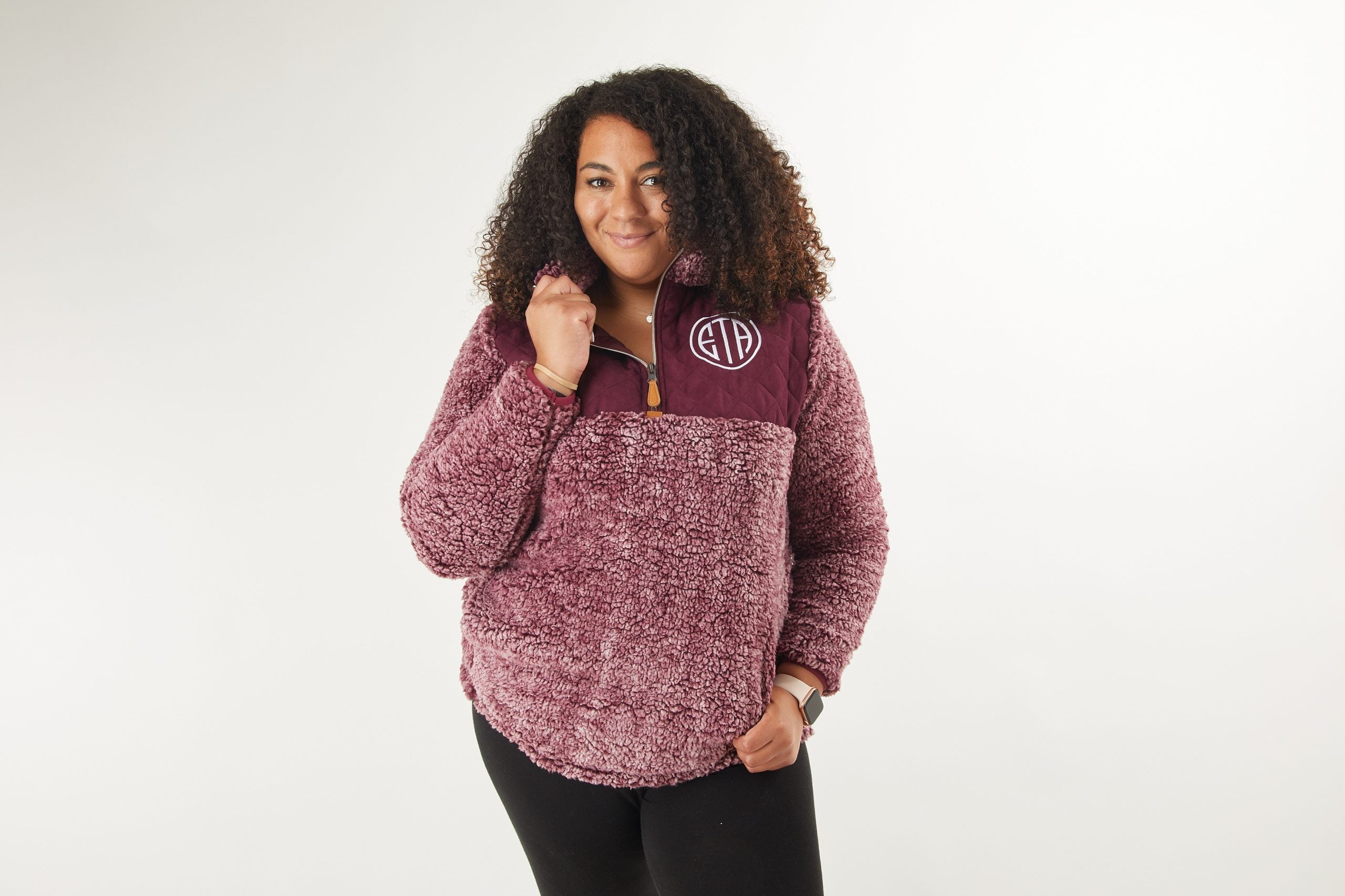 Monogrammed Sherpa Pullover Grey with Pink Pocket