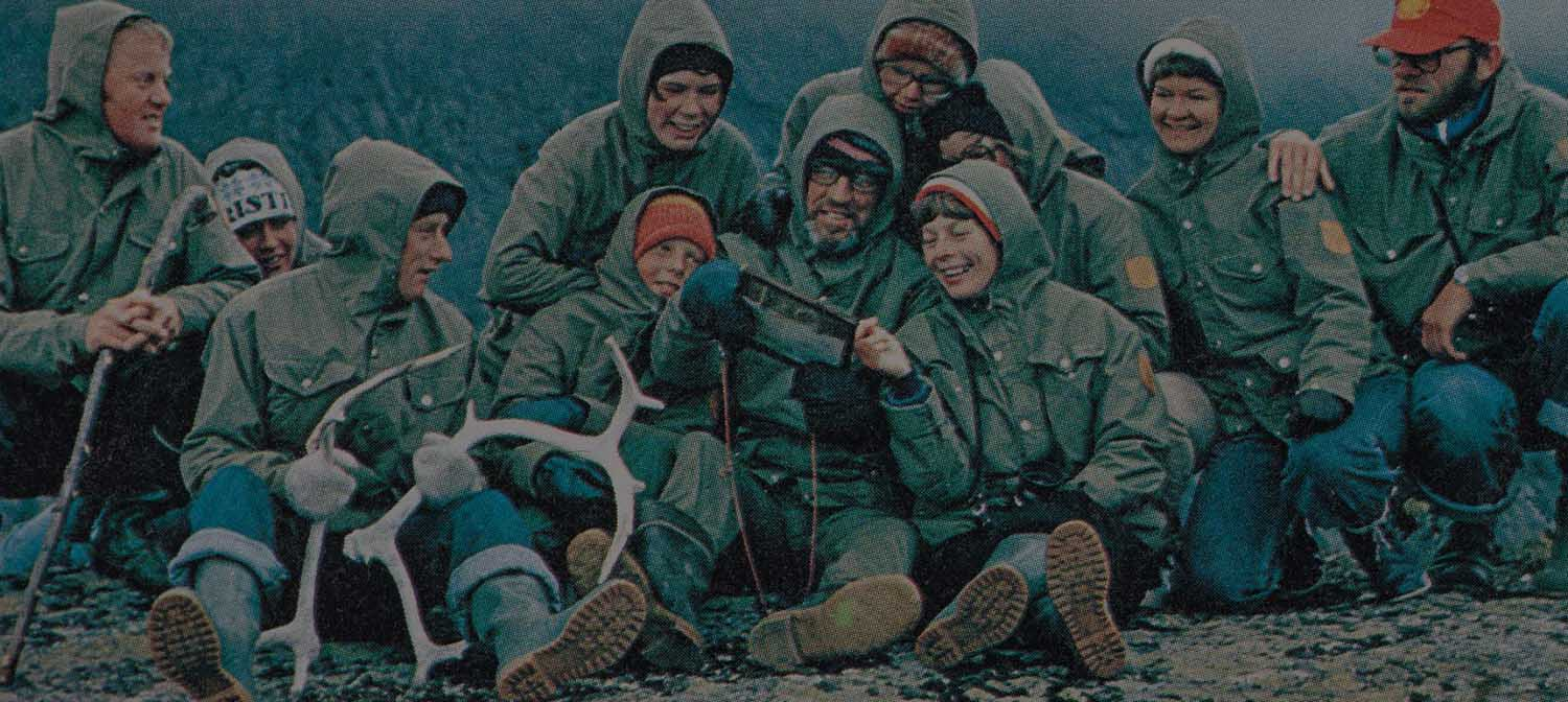 Historical Magazine Advertisement for the Fjallraven Greenland Climbing and Outdoor Jacket and 1970's Walkers Group