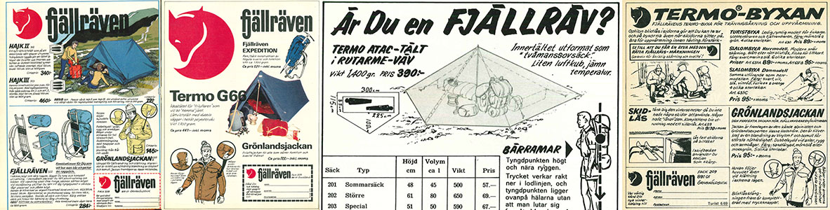 Historical Fjallraven Magazine Advertisements for Camping Equipment, Tents, Outdoor Clothing & Backpacks