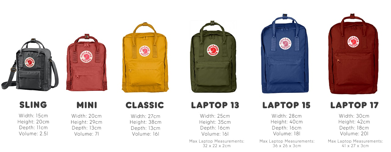 Our complete range of Kanken bags including Sling, Mini, Classic and Laptop