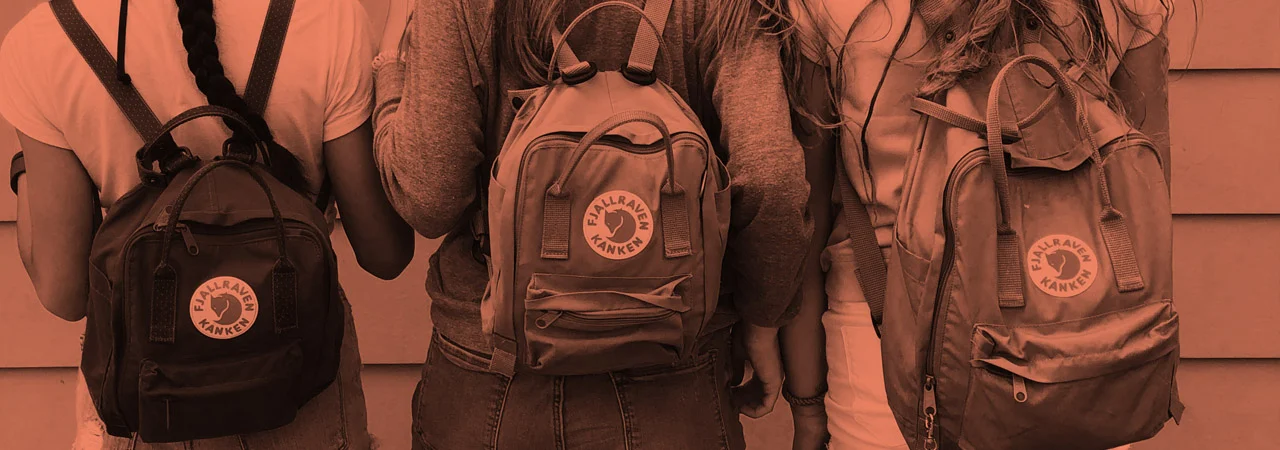 1970s Archive Photo Children on Pushbikes with Classic Kanken Backpacks