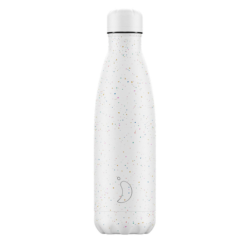 Chillys 500ml Water Bottle Speckle White