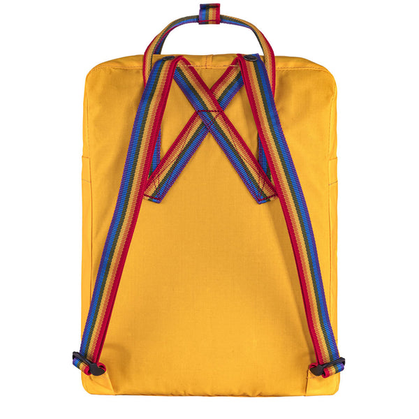 Fjallraven Kanken Classic Embroidered Backpack Warm Yellow Rainbow Pattern