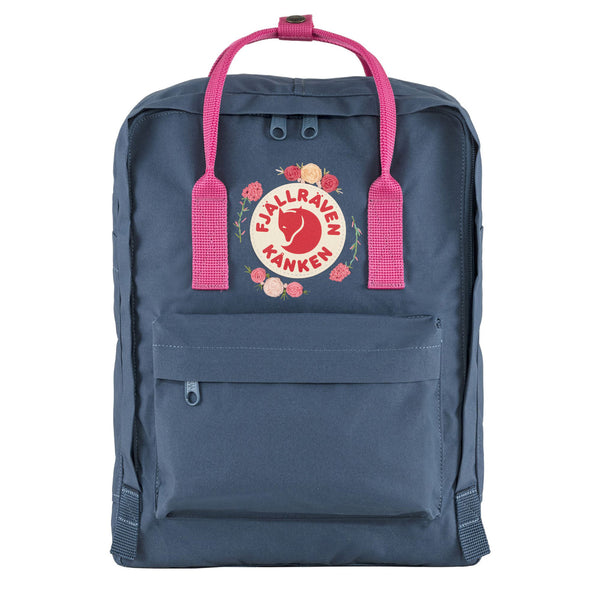 Fjallraven Kanken Classic Embroidered Backpack Royal Blue / Flamingo Pink
