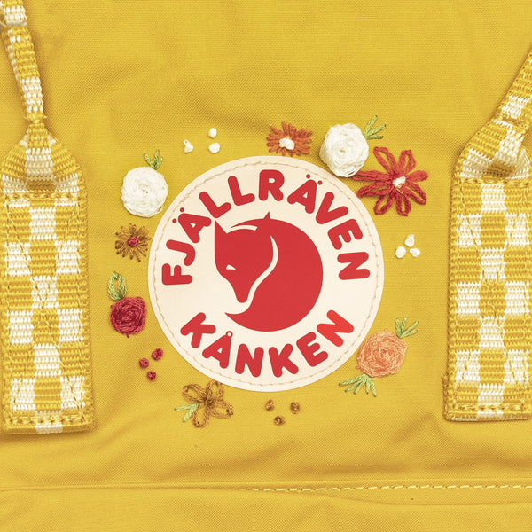 Fjallraven Kanken Classic Embroidered Backpack Ochre Chess Pattern