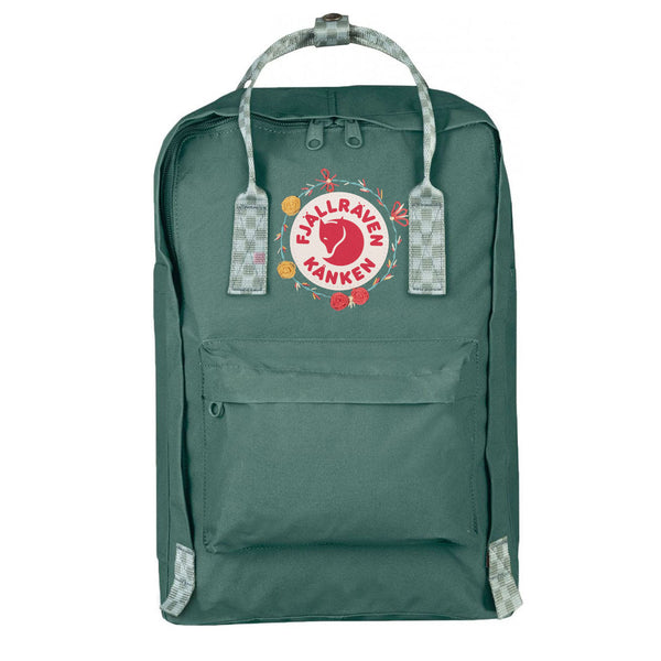 Fjallraven Kanken Laptop 15 Embroidered Frost Green Chess Pattern