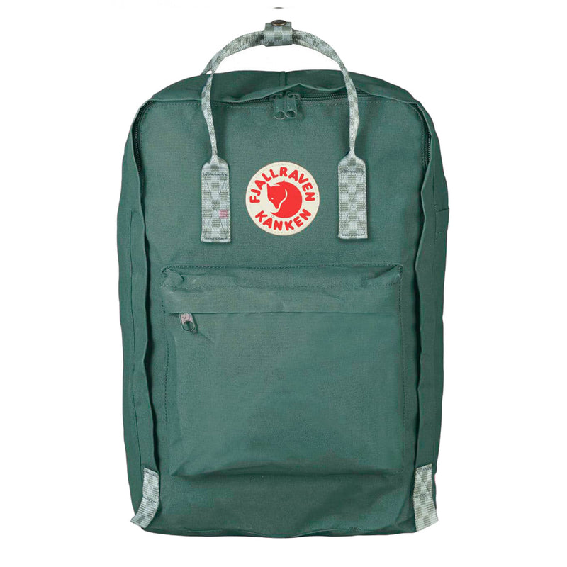 Fjallraven Kanken Laptop 17 Frost Green and Chess Pattern