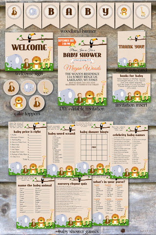Safari Themed Baby shower invitations, games and thank you notes