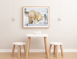 Baby Polar Bear Playing with Mom Photo