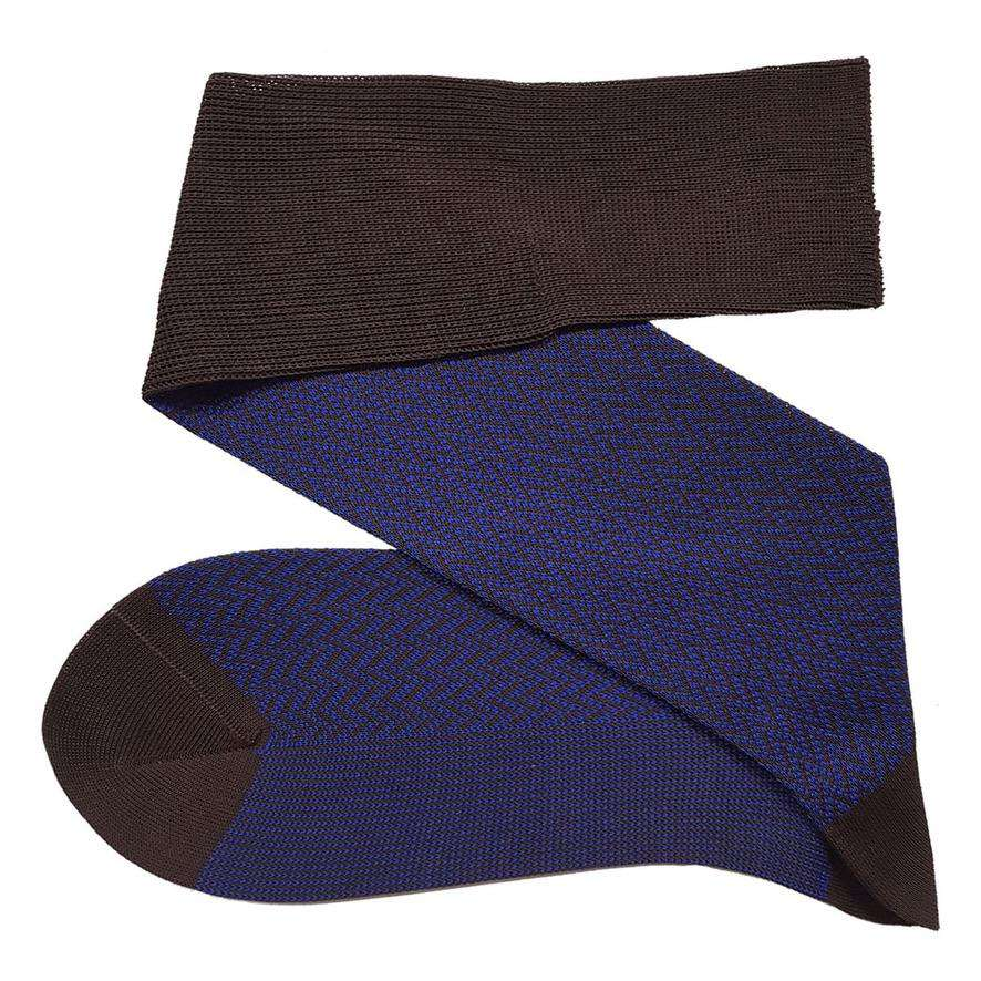 Knee highs in royal blue / brown with herringbone pattern