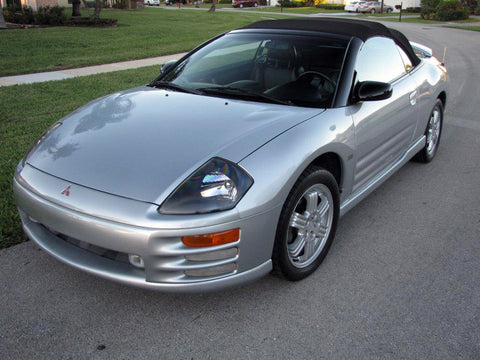 front angle of a clean, detailed silver 2001 Mitsubishi Eclipse GT V6 Spyder convertible