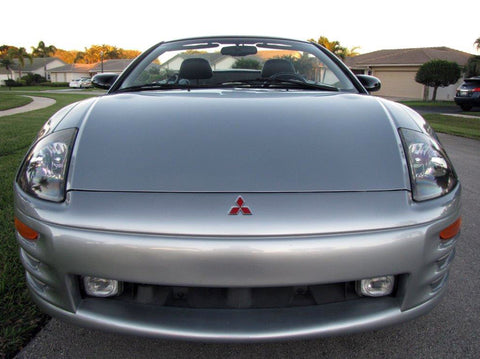 low front photo of a clean, detailed silver 2001 Mitsubishi Eclipse GT V6 Spyder convertible