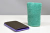 One purple, heavy duty Klaren Clean clay bar mitt next to a green fine grade microfiber clay bar Kleanmitt.